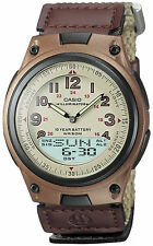Casio Men's Quartz 30 Page Databank Brown Canvas 40mm Watch AW80V-5BV