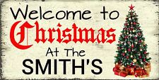 Christmas welcome sign personalised gift shabby  chic style wooden plaque