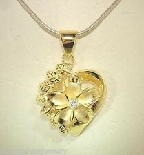 21mm Silver Hawaiian 14k Yellow Gold Brush Satin Plumeria Maile Heart Pendant #2