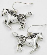 SPECIAL SALE!! HORSE PONY DANGLE DROP HOOK EARRINGS SILVER TONE w RHINESTONES