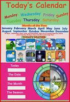 laminated today's calendar calandar calender educational school kids poster wall