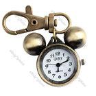 Vintage Bronze Tone Quartz Men Women's Pocket Key Chain Pendant Ring Watch Gift