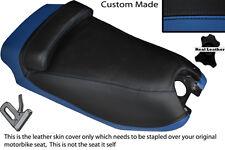 BLACK & ROYAL BLUE CUSTOM FITS HYOSUNG GRAND PRIX 125 DUAL LEATHER SEAT COVER