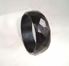 Vintage Carved Faceted Jet Black Color Bakelite Bracelet
