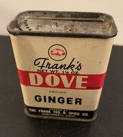 Vintage Spice Tin Franks Dove Ground Ginger 1 1/2 Oz Ounces Tea Advertising