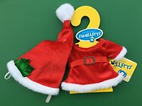 """Build a Bear Buddies 8"""" Clothing - Red Christmas Dress with Hat - New"""