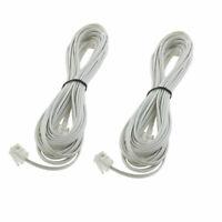 5M RJ11 6P2C Modular Telephone Modem Extension Line Cord Cable Wire 2pcs