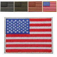 Mini USA American Flag Embroidered Iron On 5 Color Border Patches