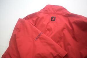 FootJoy DryJoys Golf Jacket Red Zip Neck Snap Up Short Sleeve Mens Size XL