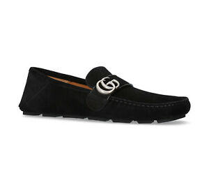 New In Box Gucci Noel Black Suede GG Detailed Drivers Size 6EU/7US $630.00