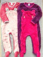 """Lot 2 Jolies Pyjamas velours polaire Fille """"Tout petit"""" Taille 24 mois 2 ans"""