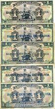 LOT Bolivia,  5 x 1 bolivano, 1929, P-112, G  > Hand Signed