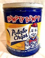 Vintage Huge 3LB Humpty Dumpty Brand Potato Chips Metal Advertising Can Tin Lid