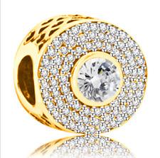 Fashion 1pcs Gold European Charm Crystal Spacer Beads Fit Necklace Bracelet **