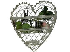 Etagere Decoration Coeur Roses Retro Vintage Shabby Chic Blanc Metal Fer Panier