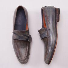 NIB $695 SANTONI Antiqued Blue-Brown Calf Leather Loafers US 8.5 D Dress Shoes
