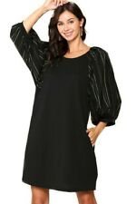 GIGIO STRIPED EMBROIDERED PUFF SLEEVE DRESS WITH POCKETS
