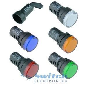 22mm Techna LED Pilot Light Indicator Panel Mount - 12V 24V 110V 230V