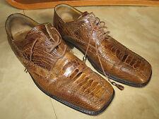 """David Eden Brown ostrich skin shoes 9-1/2"""""""