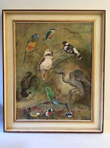 Vintage Oil Painting By Beth Mayne - Australian Birds