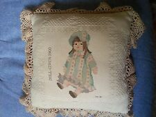 HANDMADE NEEDLEPOINT DOLL PILLOW SIGNED CROSS STICHED SHABBY CHIC, PRIMITIVE