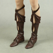 1/6 Scale Phicen Red Sonja Female Brown Leather Strap Boots w/ Ball Joint Cavity