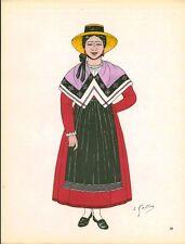 Gravure d'Emile Gallois costume des provinces françaises 1950 Languedoc