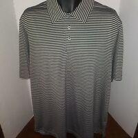 Champion Golf Men's Grey With Black Stripes Short Sleeve Polo Golf Shirt Size XL