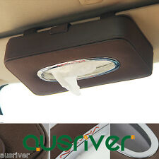 Fashion Genuine Leather Car Auto Paper Napkin Box Sun Visor Tissue Clip