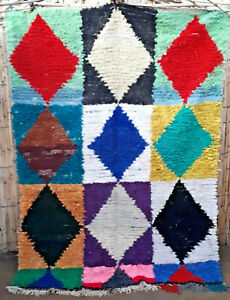 Vintage Moroccan Boucherouite rag rug 203 x 150cm