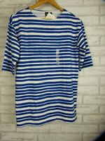 Marimekko for Uniqlo Top Blue, white stripe 3/4 sleeves Sz XXS, 6 BNWT