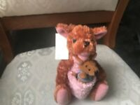 "DISNEY WINNIE THE POOH KANGA AND ROO 8"" SOFT TOY PLUSH WITH TAGS VGC"