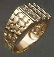 Solid 14K Yellow Gold & .96 cttw Diamond, Nugget Texture Band, Man's Estate Ring