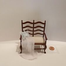 MINIATURE DOUBLE BACK LADDER CHAIR WITH NIGHTGOWN LAYING ACROSS THE SEAT