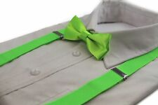 BOYS FLURO GREEN MATCHING BOW TIE + SUSPENDER SET KIDS UNISEX DRESS UP LIME NEW