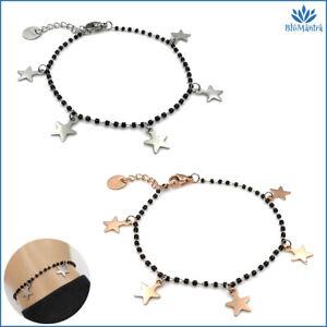 Bracciale da donna perle nere con stella stelline in acciaio inox braccialetto a
