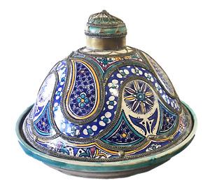 "Lg Vtg Moroccan Ceramic Feast Tajine W/ Metal Overlay 19"" Diameter Fez"