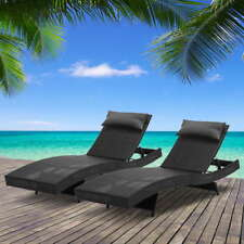 2 Seater Wicker Rattan Sun Lounger Pool Day Bed Lounge Chair Outdoor Set