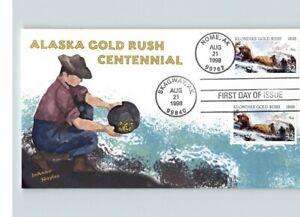 ALASKA GOLD RUSH Centennial, DUAL Cancels, NOME and SKAGWAY, ALASKA w/ Gold Flex