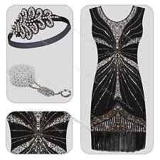 1920s Flapper Dress Headband Set Great Gatsby 20s Fringe Party Fancy Costume