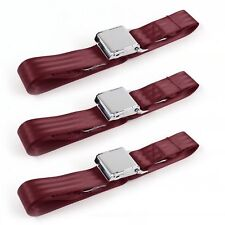 VW Type 1 1968 - 1983 Airplane 2pt Burgandy Lap Bench Seat Belt Kit - 3 Belts