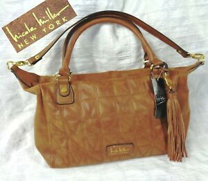 NWT Nicole Miller NY Brown Faux Leather Zip Shoulder Tote Purse + NMNY Stitching