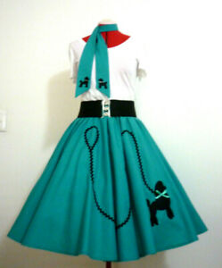 ROCK N ROLL SKIRT & SCARF~POODLE SKIRT & SCARF~JADE~COSTUME~PARTY~ SZ M/L