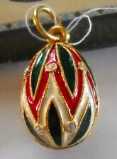 Russian Egg Faberge Pendant Silver Enameled with Swarovski Crystals with COA