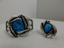 Vintage LOREN THOMAS BEGAY Sterling Silver & Turquoise Navajo Jewelry Set Ring