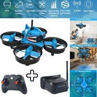 Micro FPV RC Drone Quadcopter W/ FPV Goggles HD Camera RTF Tiny Whoop Blue Shark