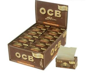 3 X OCB BROWN VIRGIN UNBLEACHED ROLLS RIPS CIGARETTE ROLLING PAPERS