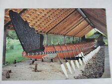 Vintage Postcard Maori War Canoe Bay Of Islands NZ. Writing Free. BI 501