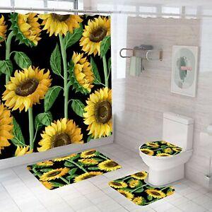 Sunflowers Bathroom Rug Set Shower Curtain Non Slip Toilet Lid Cover Bath Mat