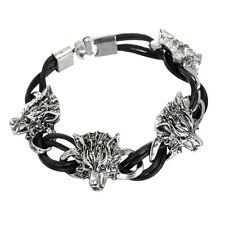Wolf Head Leather Unisex Men's Bracelet